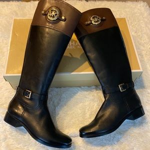 Michael kors riding Boots Black/mocha two-tone